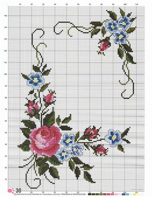 55 Graficos De Flores Em Ponto Cruz Gratis Para Baixar Rosa