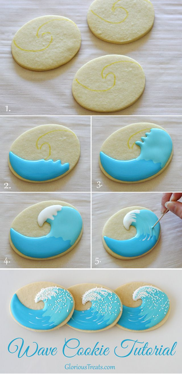 Love this craft idea from Glorious treats using #FooDoodler edible markers. #surf #summer #ocean #cookiedecorate #baking #yum #fun