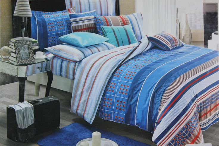Thinking of converting your simple bedroom to a trendy and classy look??? Don't just think… as you are just a step away. Choose this Blue and White stripes King Size Bed Linen Set of size 275*275cm to give your room a new and modern look. The fine stripes in the color of Blue and White will add an instant charm to your interior and make it even more vibrant and bright.