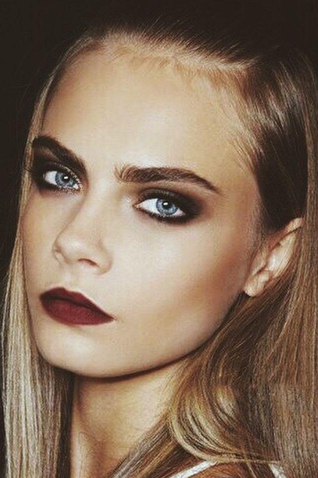 Cara Delavigne makeup inspiration. Dark lips, deep smokey eyes and of course bold brows #Caradelavigne #makeup                                                                                                                                                     More