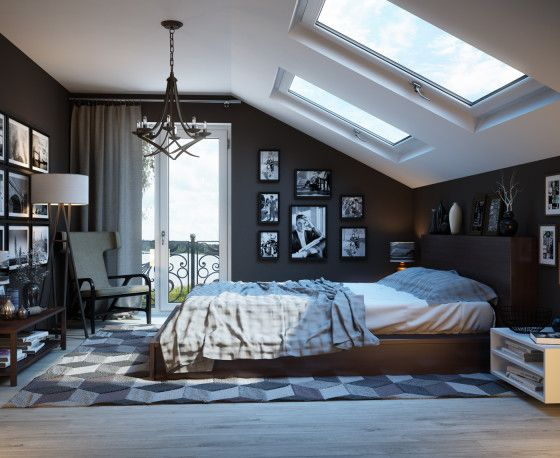 Diseño de dormitorio con techo inclinado