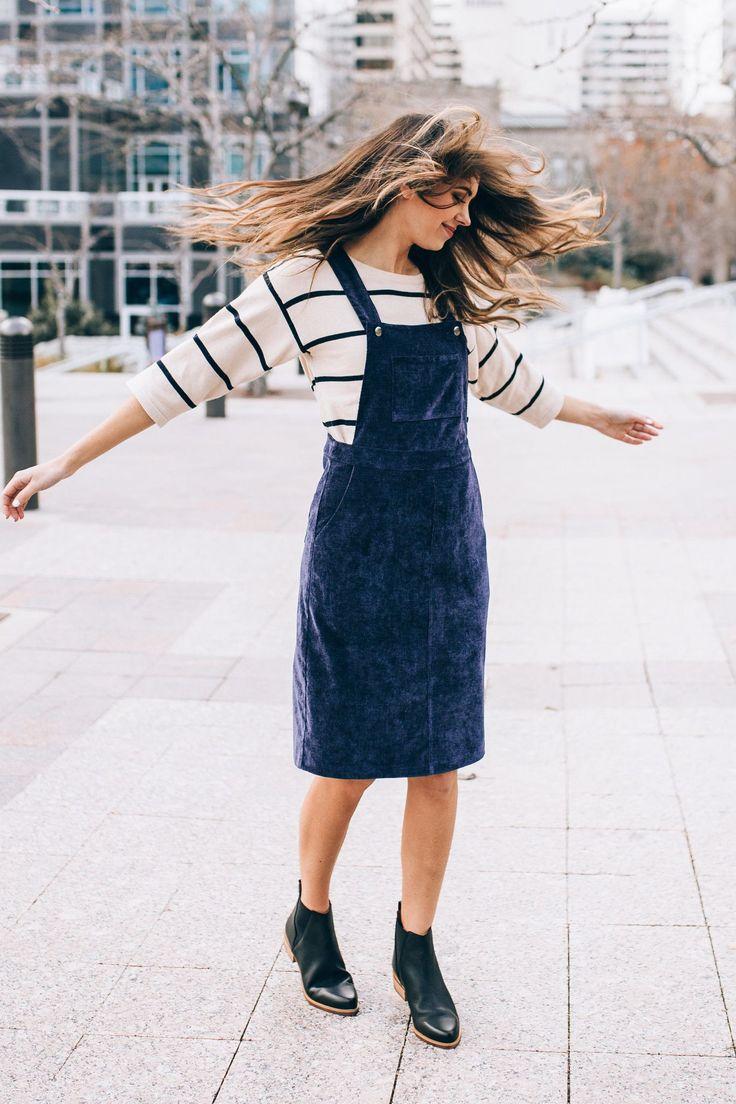 Piper & Scoot: The Olivia Corduroy Jumper Dress in Indigo