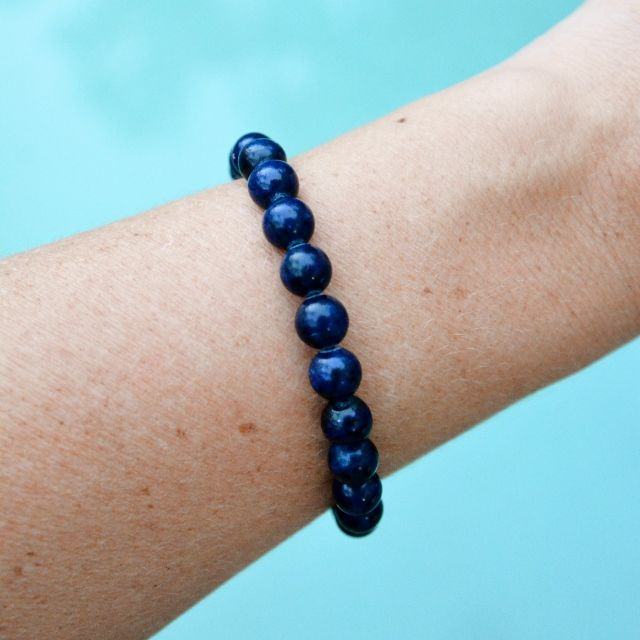 Shop the Lapis Chic Bracelet. Custom made to fit. Lapis Lazuli Gemstones with Sterling Silver