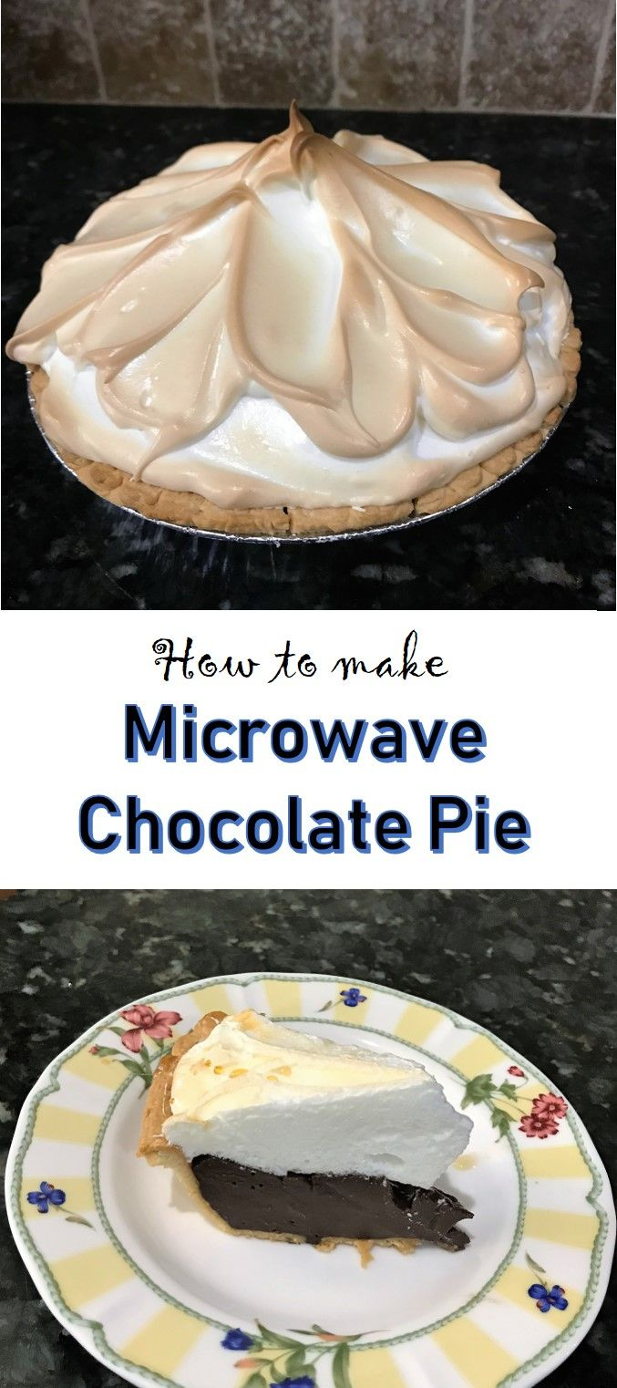 Recipe for a delicious chocolate meringue pie that uses your microwave to speed up the process. No fail. It's seriously so easy to master this recipe.