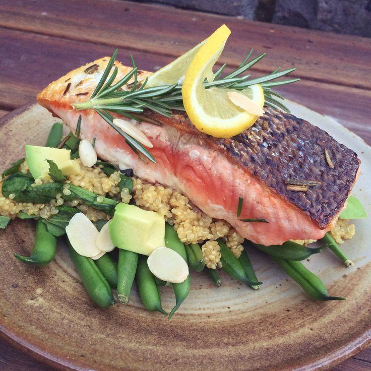 Crispy-Skinned Salmon with Lemon, Thyme & Mint Quinoa