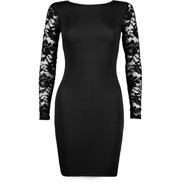 Boohoo Petite Ellie Lace Sleeve Bodycon Dress (95 SEK) ❤ liked on Polyvore featuring dresses, petite cocktail dress, lace sleeve cocktail dress, bodycon cocktail dresses, petite dresses and lace sleeve bodycon dress