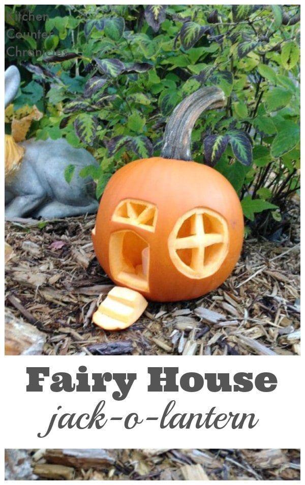 Fairy House Jack-O-Lantern - Transform your Halloween pumpkin into a fairy house jack-o-lantern. Invite fairies into your garden this Halloween. | Halloween Craft | Fairy House |