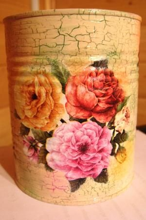 Чудо-баночка для полезных мелочей  http://dcpg.ru/mclasses/creall-banochka/ Click on photo to see more! Нажмите на фото чтобы увидеть больше! decoupage art craft handmade home decor DIY do it yourself tutorial acrylic paint varnish napkin craquelure