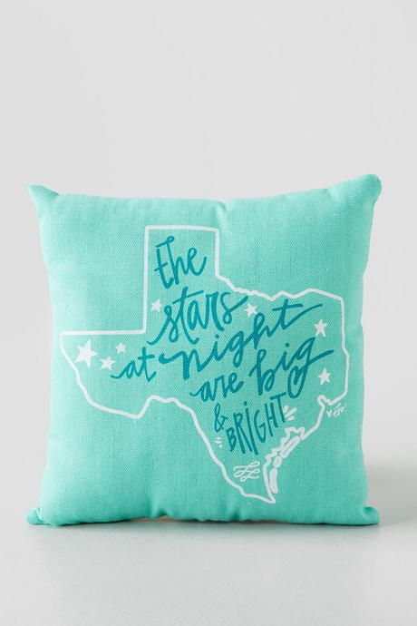 So cute! Perfect for a couch or bed. Love the color and the phrase! | Texas Stars Pillow from Francesca's