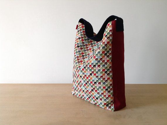 Double face hobo bag in multicolor houndstooth fabric by FMLdesign