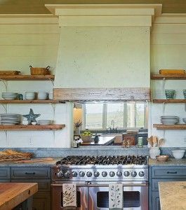 Kitchen Hood Material Ideas. The authenticity of the materials extends to the use of tabby for the large hood above the range. This is an indigenous stucco mix made from oyster shells and lime. #Kitchen #Hood Interiors by Gregory Vaughan, Kelley Designs, Inc. Photos by Atlantic Archives, Inc.
