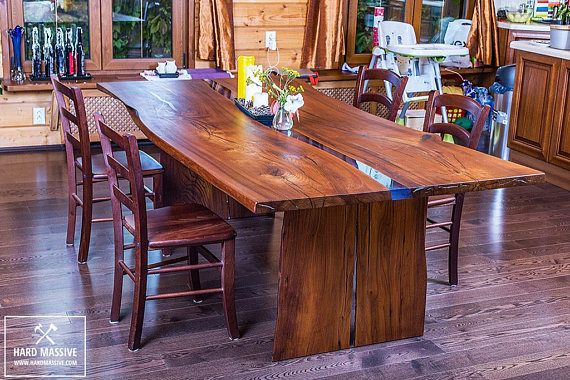 A Large Modern Dining Table Made Of Solid Wood With A Live Edge Wood Karagach Is Very Durable With A Beauti Solid Wood Table Dining Table Legs Live Edge Table