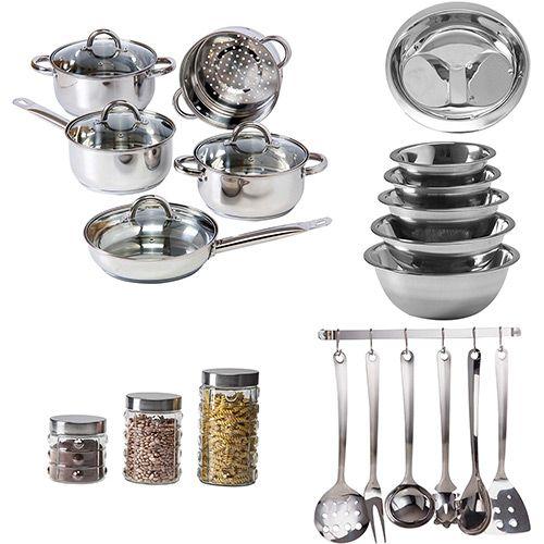 Conjunto Panelas Inox 5 Peças + Escorredor de Arroz + Tigela 5 Peças + Pote de Vidro Poá 3 Peças + Conjunto Utensílios 7 Peças - La Cuisine - Shoptime
