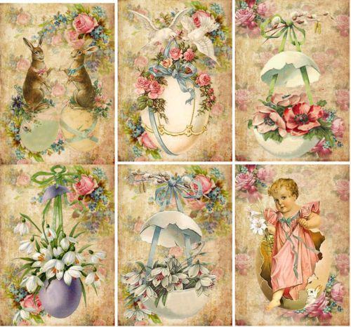 Vintage Easter Antique Pictures Chicks Eggs Note Cards Tags Scrapbooking Set 6 | eBay