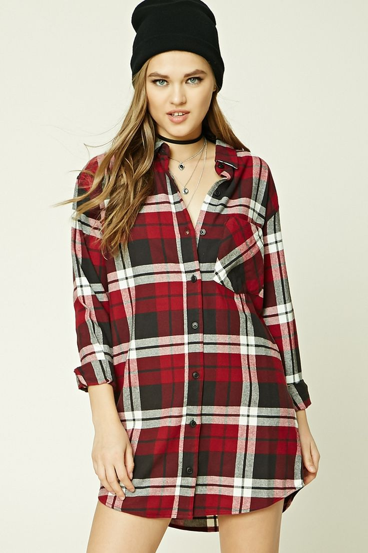 A buffalo plaid flannel shirt dress featuring a basic collar, buttoned front, left chest patch pocket, a curved hem, and long buttoned cuff sleeves.