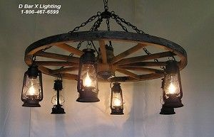 Chandelier - Rustic Wagon Wheel Chandelier Light Fixture with Hanging Lantern Lights - WW026