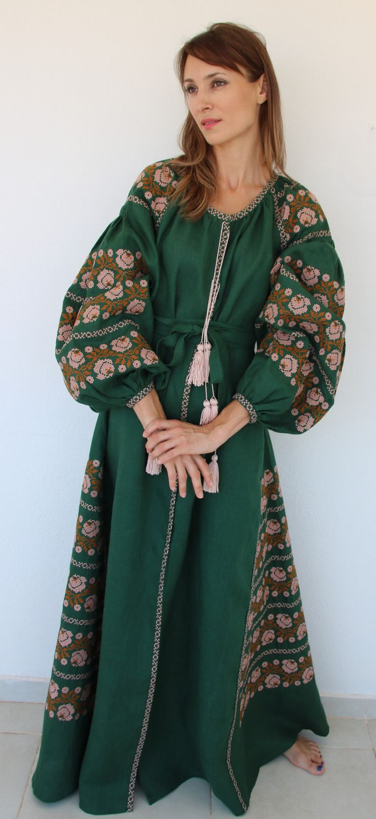 Fanm Mon Dark Green Linen Copper Blush Vyshyvanka MAXI Dress Copper Blush Embroidery. Sizes - XS-XXL MX042-01