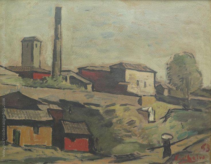 """Edgardo Ribeiro  """"Pueblito"""" Óleo sobre cartón  40 x 50 cm. Año 1963  Firmado y fechado abajo a la derecha  http://www.portondesanpedro.com/ver-producto.php?id=12862"""