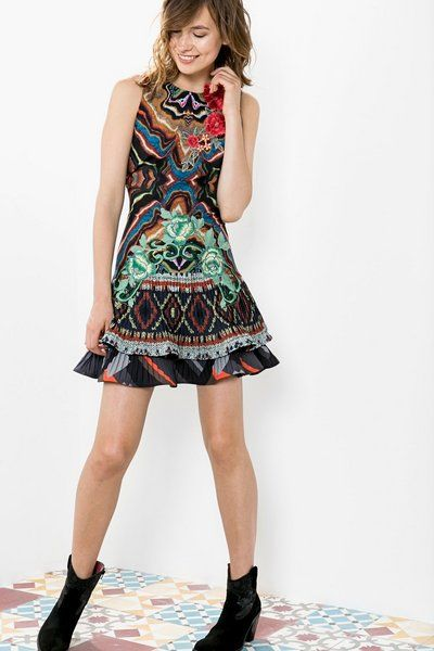Desigual Pleated skirt dress. Discover the most sophisticated range with Desigual by L!