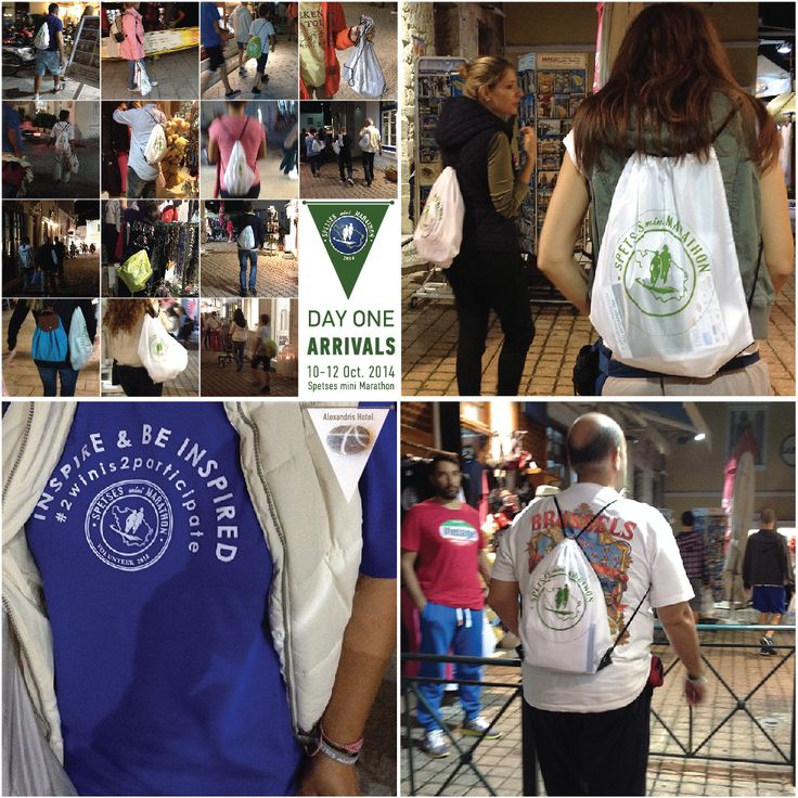 Spetses mini Marathon '14 : Day One: Everyone is walking around with their #SpetsesMiniMarathon registration shoulder bag!!