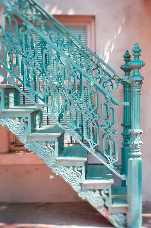 Gorgeous Staircase gorgeous architectural staircase details teal blue