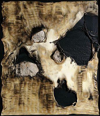 Alberto Burri - Combustione Plastica  1958  Plastic, acrylic, burns on canvas  38 9/16 x 33 1/16 in. (98 x 84 cm)  Fondazione Palazzo Albizzini Collezione Burri, Citta di Castello