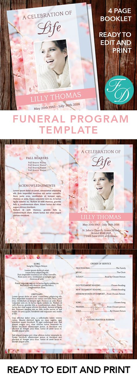 227 best Floral Funeral Program Templates images on Pinterest - printable funeral program templates