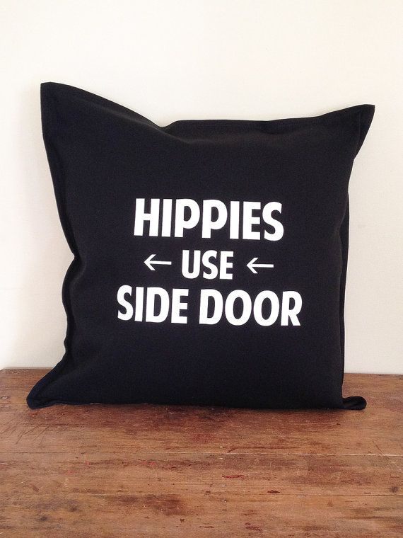 Hippies Use Side Door  Arrow Left  Black by DarkHorseWanderer, $48.00