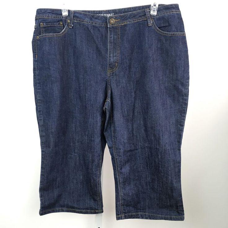 Ashley Stewart Womens cropped jeans Cotton Blend Denim Size 20 dark wash casual #AshleyStewart #CapriCropped
