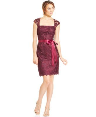 Adrianna Papell Cap-Sleeve Belted Lace Sheath | macys.com