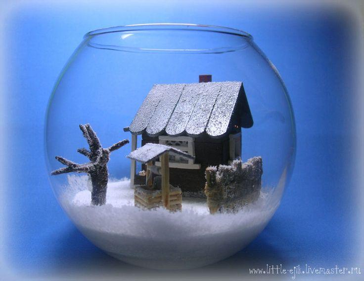"""Купить миниатюра в вазе """"Зимний дворик"""" - белый, стекло, ваза, ваза стеклянная…"""