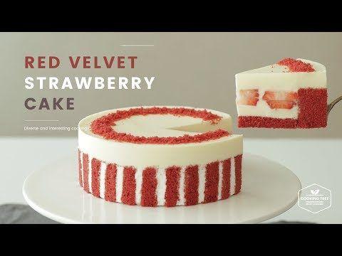 (46) 노색소!🍓 레드벨벳 딸기 케이크 만들기 : Red velvet strawberry cake Recipe - Cooking tree 쿠킹트리*Cooking ASMR - YouTube