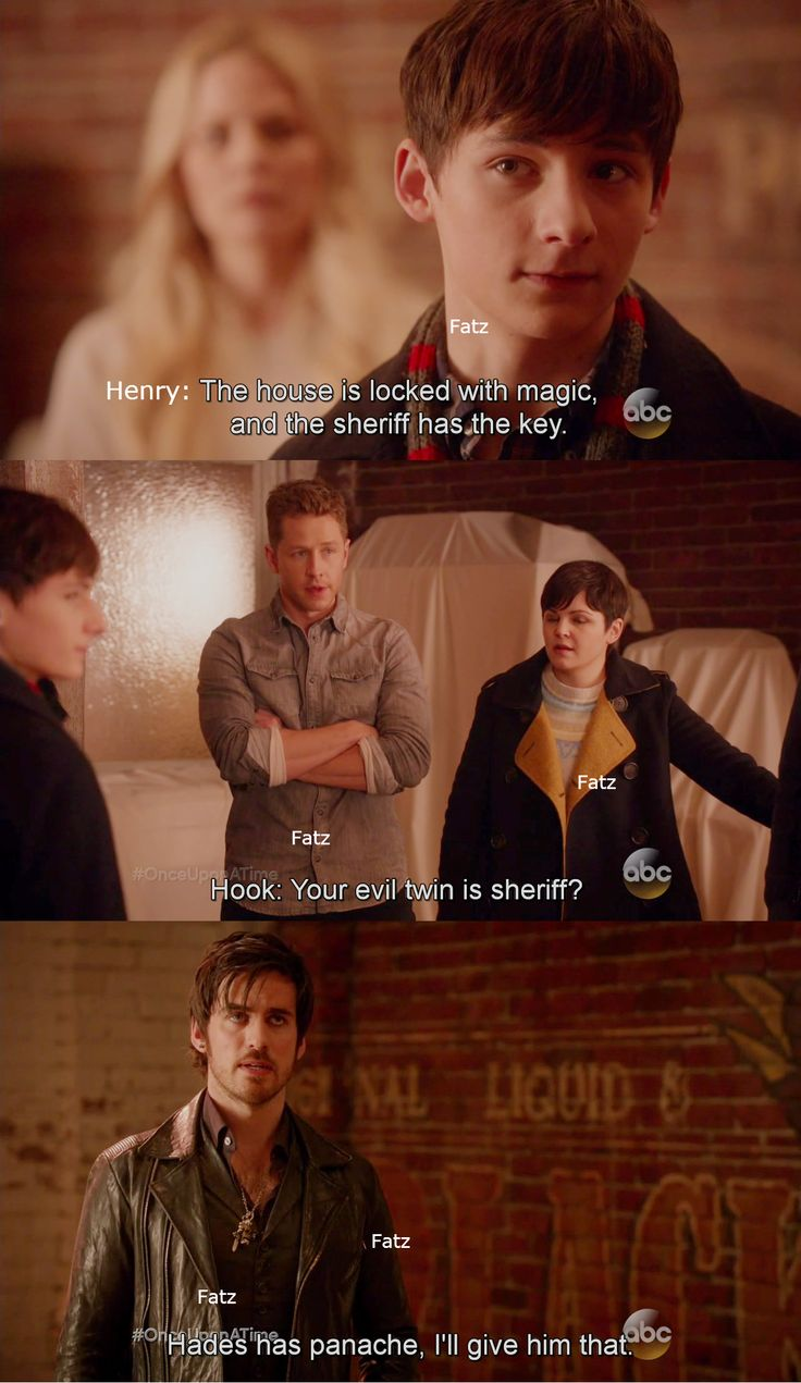 """""""Your evil twin is Sheriff? Hades has panache, I'll give him that"""" - Killian, Henry, Snow and David #OnceUponATime"""
