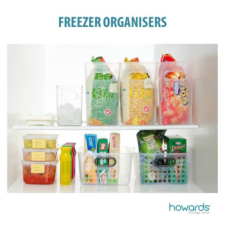 To get the most from your freezer, group like items together in plastic caddies. The plastic needs to be freezer safe and we really like caddies with handles as they are easier to use. See the full story in Howards January catalogue 2014. Featuring HomeLeisure's Trend Square Baskets.