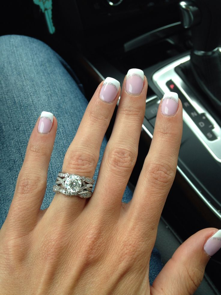 No chip manicure with silver sparkle French design