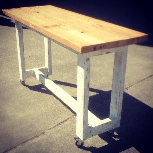 Eco Recycled Vintage White Hand Painted Crafted Timber High Bench Kitchen Dining Table Lightly Distressed