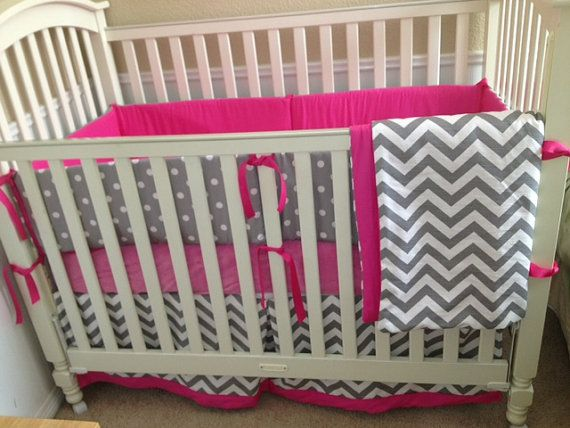 Gray And Hot Pink Nursery | Hot Pink and Grey Chevron Custom Baby Bedding Set by babylovin