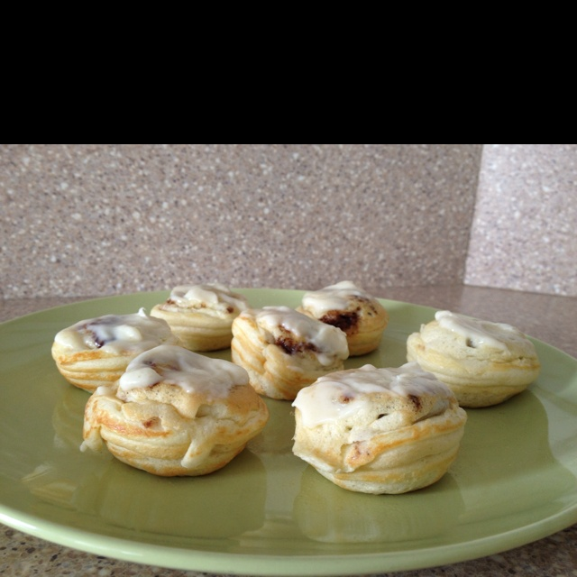 Cinnamon filled ebelskivers topped with cream cheese icing. These are wonderful! We picked up the pan and flipping tools at williams-Sonoma
