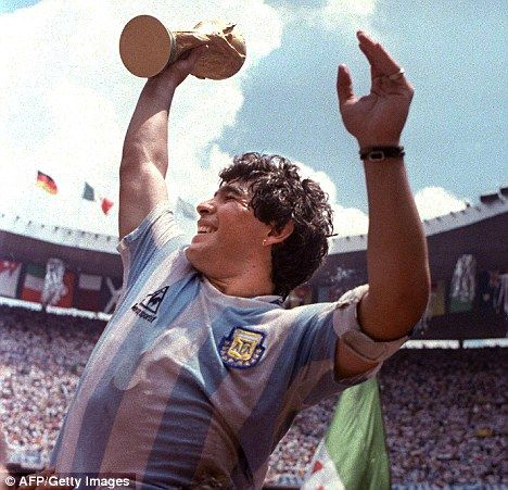 Diego Maradona steals the world cup from England.