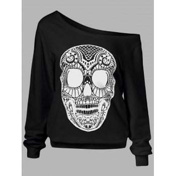SHARE & Get it FREE | Skull Print Skew Collar Plus Size SweatshirtFor Fashion Lovers only:80,000+ Items·FREE SHIPPING Join Dresslily: Get YOUR $50 NOW!