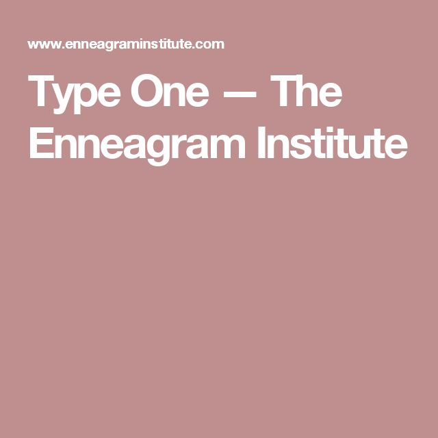 Type One — The Enneagram Institute