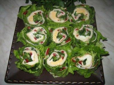 Рулеты закусочные на листьях салата : Закуски и бутерброды