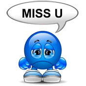 Do you miss someone? This smiley is sad and wishes you were nearby! Send this smiley in your Facebook message or chat when you want to tell you significant other that you're really, really missing them around!