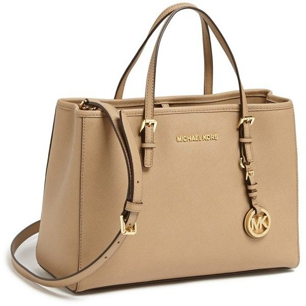 MICHAEL Michael Kors 'Jet Set' East/West Saffiano Leather Tote (1.680 ARS) ❤ liked on Polyvore featuring bags, handbags, tote bags, purses, bolsas, torbe, torebki, michael michael kors tote, saffiano leather tote and buckle purses