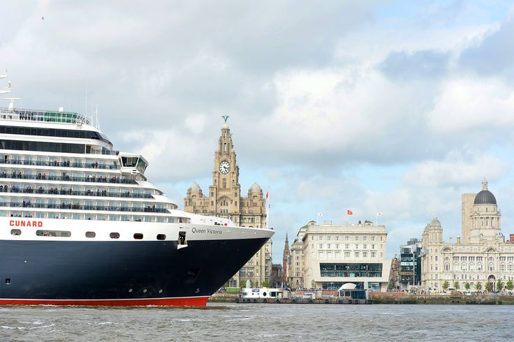 Queen Victoria sailing by Liverpool's historic waterfront. Image @cunard #cunard #cruises #liverpool
