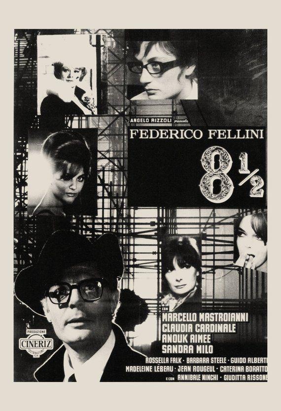 Vintage Film Poster Federico Fellini Movie Poster 8 1 2 Etsy Film Posters Vintage Vintage Film Film