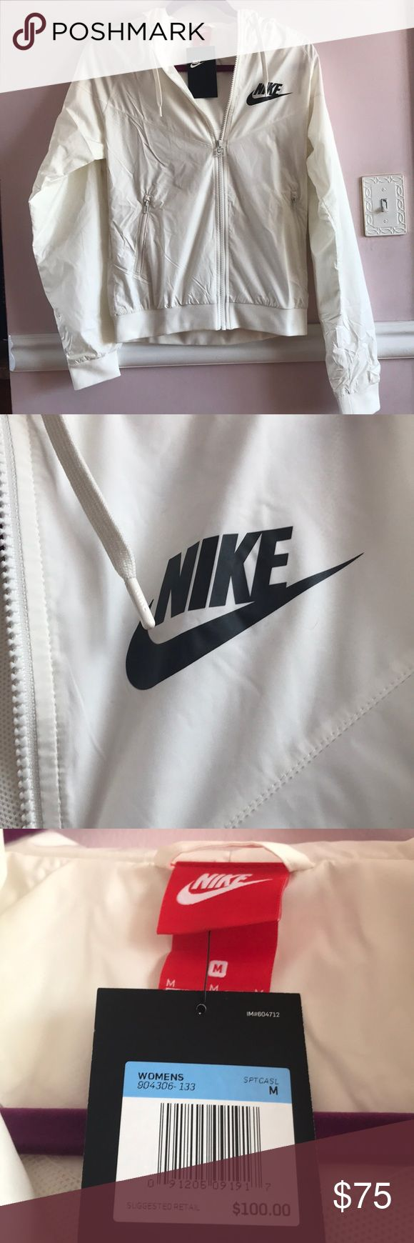Nike Windrunner Jacket Woman's Nike windrunner Jacket Style: 904306-133 Off white with black New with original tags Size medium, but runs a full size small Nike Jackets & Coats