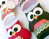Girl Owl Pillow Gift Boxes Set of 12 Baby Shower Birthday Party Made to Order
