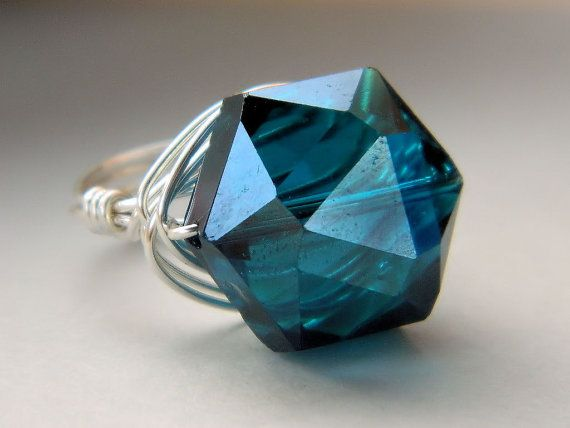 Teal Sapphire Ring. Jewelry  Blue Teal Glass Big Silver by gabeadz