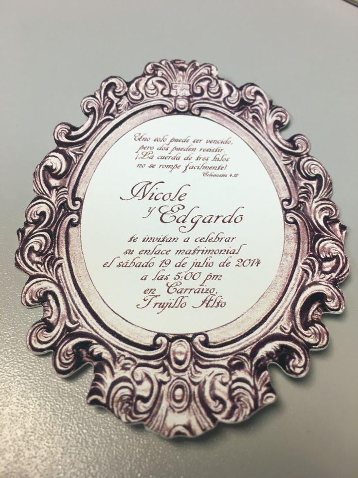 Invitación troquelada (cortada al contorno) estilo vintage